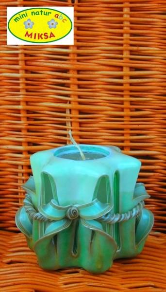 Handgeschnitzte Kerze BeigeGrün