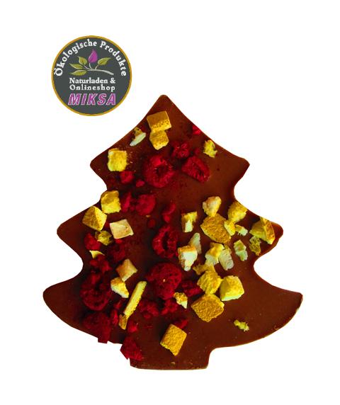 Weihnachtsbaum - Milchschokolade mit Himbeeren und Orangenschale, gesüßt mit Maltitol
