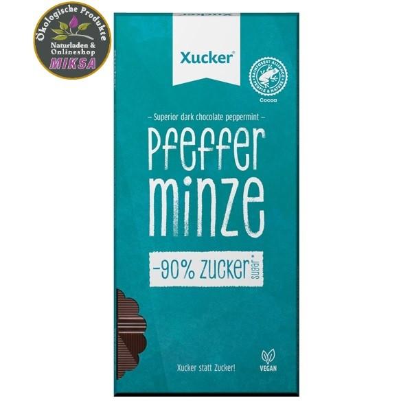 Vegane Edelbitter-Schokolade Pfefferminze mit Xylitol